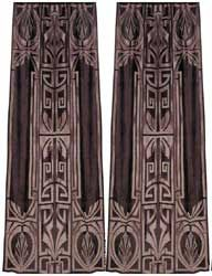 hollywood crushed velvet art deco curtain panel in pewter and taupe applique