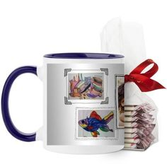 Pictures For Grandma Mug, Blue, with Ghirardelli Peppermint Bark, 11 oz, White