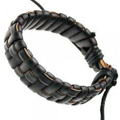 Dark Brown Braided Leather Bracelet