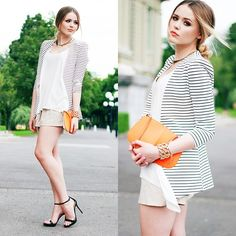 Striped jacket,white t, strappy heel, gold accessories and orange clutch...gorgeous!