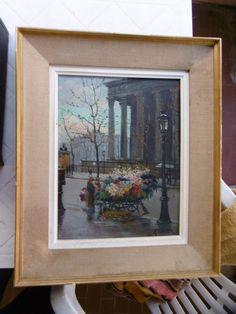 """Peinture ancienne sur bois signé""""RAYBAUD""""marqué 1949 avec son cadre à voir!"""