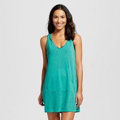 Women's Sleeveless Pullover Dress Cover Up Turquoise L - Merona