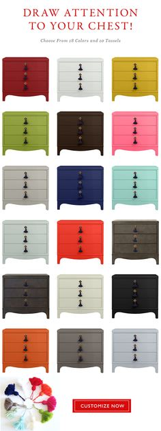 3rd row, middle, for The Blue for bureaux. Draw attention to your chest! The oomph Easton Chest in 18 colors with your choice of tassel color.
