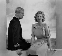Lt. Philip Mountbatten (later The Duke of Edinburgh) and The Princess Elizabeth (later Queen Elizabeth II), 1947.