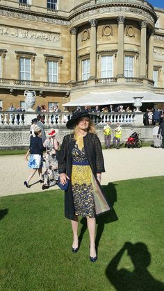 The wife of the Italian Ambassador in London Karen Lawrence Terracciano in Haute Couture outfits Michele Miglionico guest of Queen Elizabeth II at Buckingham Palace