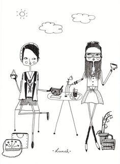 Girl Art Print Girls Art Girls Decor Poster Girls by diarysketches