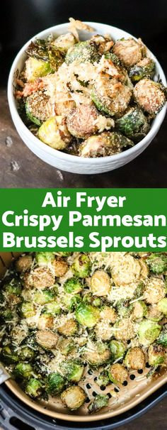 Air Fryer Crispy Parmesan Brussels Sprouts - Crispy, cheesy, and majorly delicious; these Air Fryer Crispy Parmesan Brussels Sprouts are going t - Air Fryer Recipes Meat, Air Frier Recipes, Air Fryer Recipes Breakfast, Air Fryer Dinner Recipes, Breakfast Ideas, Meat Recipes, Recipies, Jai Faim, Clean Eating