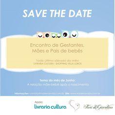 Save the Date para o encontro de Gestante, mães e pais de bebês Livraria Cultura SP - By Fiori di Giardino