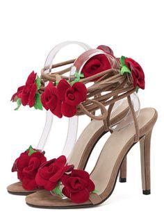 Sandalias peep toe flor tacón de aguja-Sheinside Correas De Tobillo 26584d752c38
