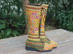 Womens Boho Boots In Yellow And Red Ethnic Hmong embroidery by SiameseDreamDesign