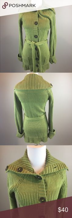 """Anthropologie Moth Green Button Cardigan Sweater Measurements: Armpit to armpit laying flat 18"""" Length from top of shoulder to bottom of sweater 33"""" Good pre owned condition. Comes from a smoke free home. Anthropologie Sweaters Cardigans"""