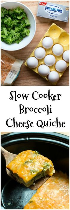 Slow Cooker Broccoli Cheese Quiche