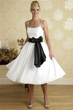 Picture of White Tea Length Dress, Black And White Cocktail Dresses, Party Dress