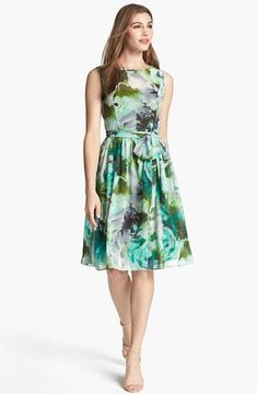 shopstyle.com: Isaac Mizrahi New York Print Chiffon Fit & Flare Dress