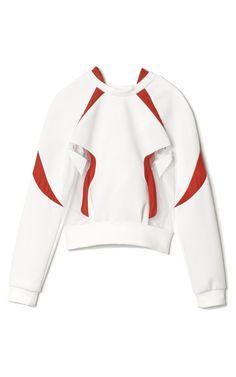 Tulle Insert Neoprene Sweatshirt by Prabal Gurung - Moda Operandi