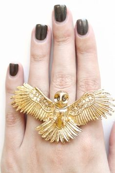 Wildfox Couture Jewelry Owl Ring in Gold Pinned by www.myowlbarn.com