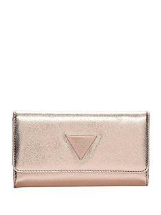 Guess Women's Abree Tri-Fold Wallet Clutch Bag (Rose Gold) Louis Vuitton Wristlet, Designer Wallets, Slim Wallet, Clutch Wallet, Wallets For Women, Girly Things, Continental Wallet, Rose Gold, Wristlets