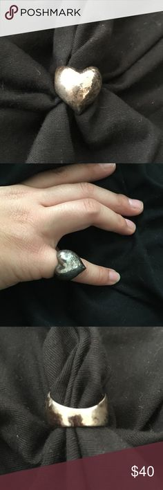 Vintage 1960s Silver Heart Ring Sterling silver . Circa 1960s . Photos show before and after cleaning . Jewelry Rings