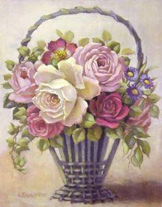 Vintage basket of roses
