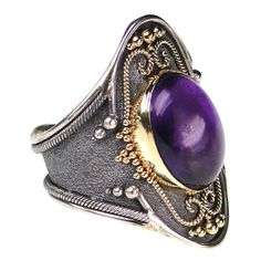 Damaskos Amethyst Black Silver Long Ring. 18k Gold, Sterling Silver and an Amethyst. This and more handmade Amethyst Greek jewellery at Athena's Treasures: www.athenas-treasures.com