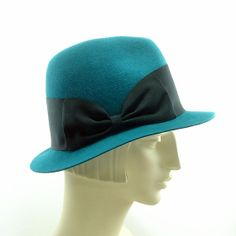Teal Fedora Vintage Fashion Hat for Women by TheMillineryShop, $265.00