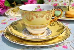 Princess Leonard St Pottery Custard Yellow and Gold Vintage Teacup Trio with Pink Roses