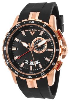 Swiss Legend 10134-RG-01 Watches,Delta GMT Black Silicone and Dial Rose-Tone Case, Fashion Swiss Legend Quartz Watches