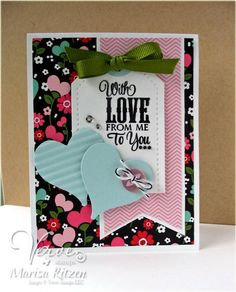 Card by Marisa Ritzen using Chevron Love from Verve Stamps.  #vervestamps