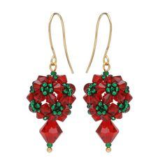 Ornate beaded beads look just like Christmas topiary balls in these festive holiday earrings. Accenting the pretty globes are sparkling Czech Crystal bicones. Beaded Christmas Ornaments, Christmas Earrings, Christmas Topiary, Earring Tutorial, Jewelry Making Tutorials, Beading Projects, Christmas Jewelry, Beads And Wire, Diy Earrings