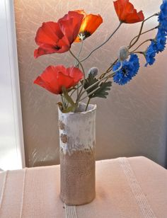 Brown straight vase Handbuilt stoneware by BlueButterflyCrafts, £20.00