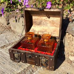 Vintage Treasure Chest Barware Set with 2 Amber Hobnail Decanters and 4 Shot Glasses