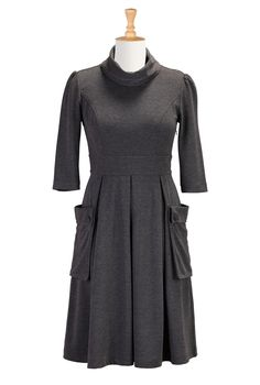 Cowl Neck Ponte Knit Dresses, Charcoal Ponte Knit Dresses Women's short dresses - Evening dresses, cocktail, prom dresses | eShakti.com
