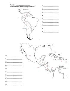 central america map worksheets | Can you name the Countries and ...