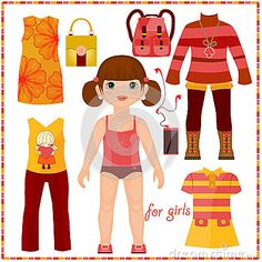 Paper doll with a set of fashion clothes. Cute gir