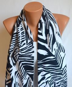 infinity scarf  black and white animal print cotton by bstyle, $20.00