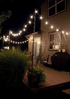 How to make a pole to add string lights to the deck Back yard