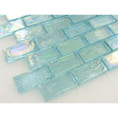 Sheet size: 12 x 12 Tile Size: x 1 Tiles per sheet: 98 Tile thickness: Grout Joints: Sheet Mount: Mesh Backed Sold by the sheet Mermaid Bathroom, Aqua Bathroom, Bathroom Ideas, Glass Brick, Glass Tiles, Iridescent Tile, Brick Tiles, Beach House Decor, Home Decor