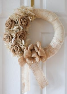 Cream/tan Burlap Flower Wreath by on Etsy Burlap Rosettes, Burlap Flower Wreaths, Fabric Wreath, Burlap Lace, Fall Wreaths, Burlap Wreath, Christmas Wreaths, Hessian, Burlap Projects