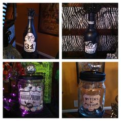Halloween spooky potion bottles and jars!!! Easy DIY.. Wine bottles , mason jars or pickle jars. Black paint, glitter blast paint. Halloween craft paper, glue, drawer pull for the lid, spooky spiders and snakes ... Easy easy !!