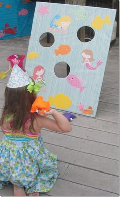 Fun DIY activity for a Little Mermaid birthday party – under the sea bean bag toss game!