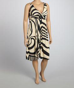 Another great find on #zulily! Apricot & Black Stripe Surplice Dress - Plus #zulilyfinds
