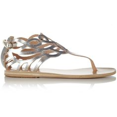 Ancient Greek Sandals Silver Medea Cut Out Sandals ❤ liked on Polyvore featuring shoes, sandals, flats, studded gladiator sandals, caged heel sandals, cage sandals, metallic sandals and silver gladiator sandals