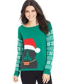 It's Our Time Juniors' Graphic Reindeer Sweater | Cute Ugly ...