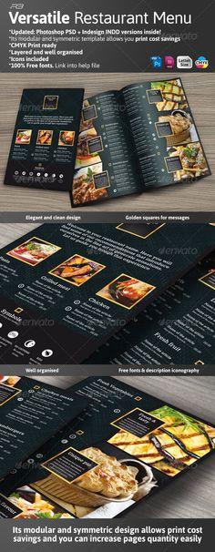 Black and Gold Menu Template - Food Menus Print Templates