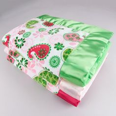 Paisley Minky Velour with Flat Satin Blanket - Girls Blankets - Blankets