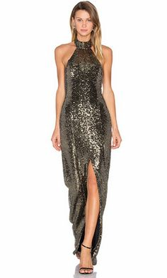 26f2a2eda0a Beauty Queen Gold Sequin Sleeveless Backless Halter Slit Front Maxi Dress  Gown - Sold Out