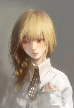 Tags: Anime, Realistic, Gray Background, Looking To Side, Semi-realism, Pixiv Id 1887581, Nyanpe