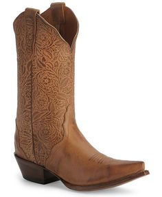 Nocona Tooled Leather Cowgirl Boots - Needle Pointed Toe