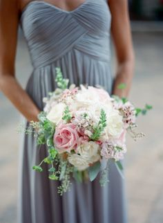 Bridal bouquet with a soft mint, blush, green, gray and ivory color palette