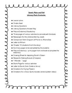 sarah plain and tall book report